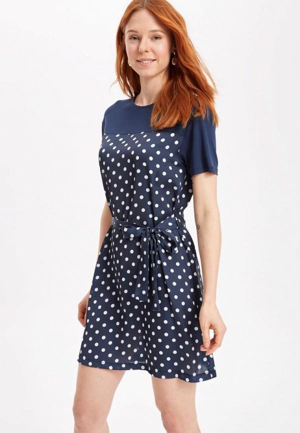 женское повседневные платье defacto, синее