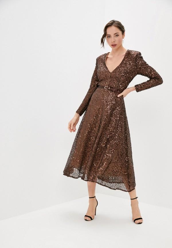 женское вечерние платье rich & naked, коричневое