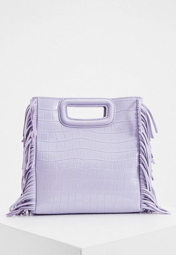 женская сумка с ручками maje, фиолетовая