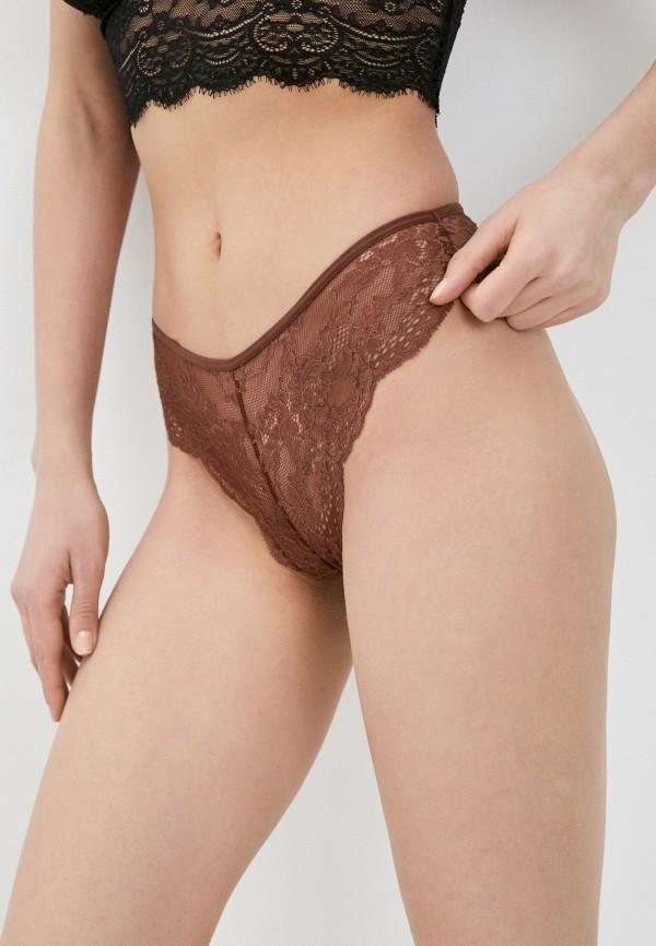 женские трусы-бразилиана defacto, коричневые