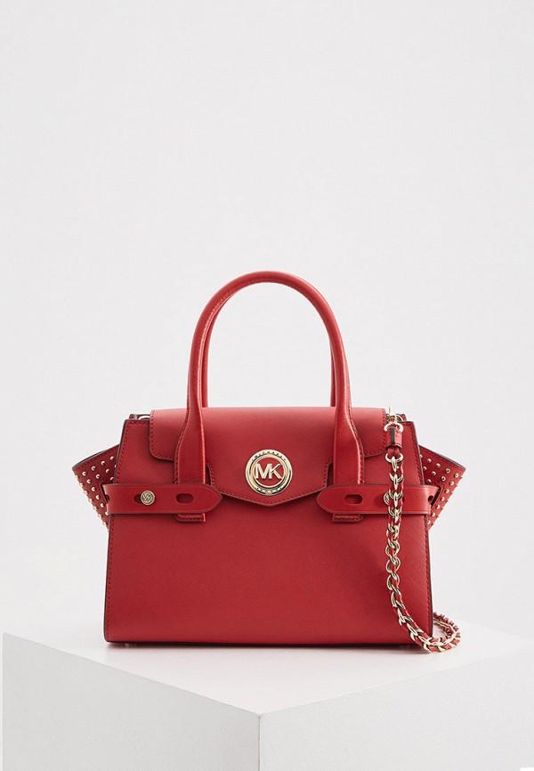 женская сумка с ручками michael kors, красная