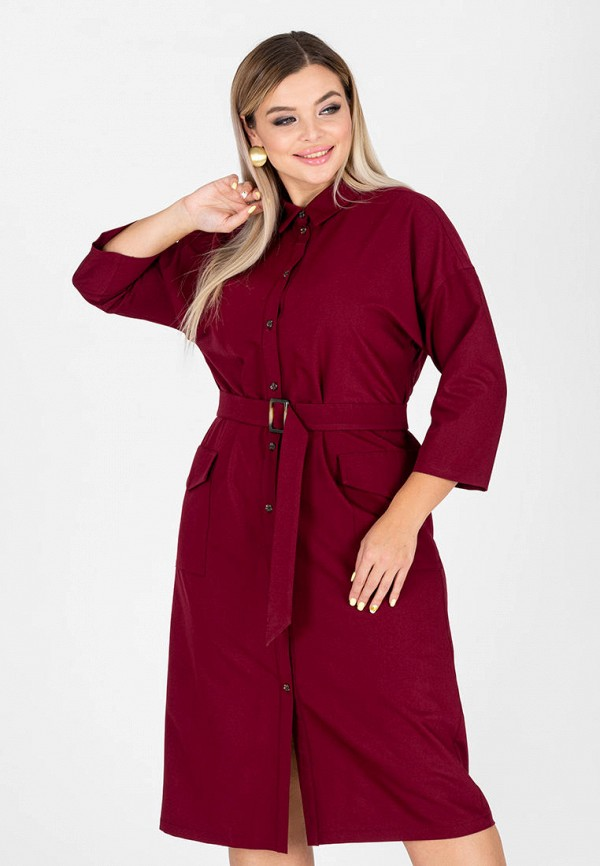 женское платье-рубашки eliseeva olesya, бордовое