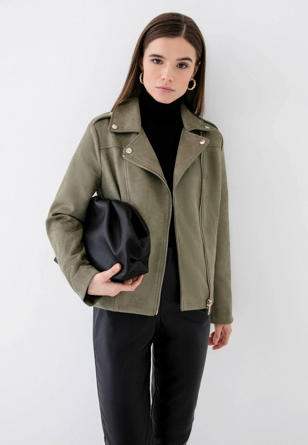 женская куртка косухи zarina, хаки