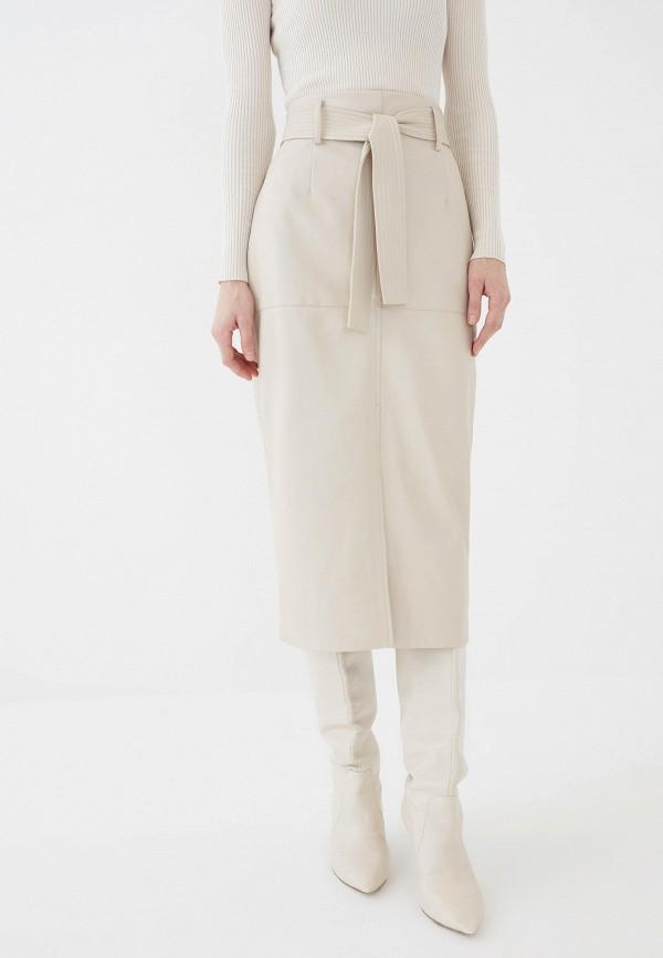 женская кожаные юбка zarina, бежевая