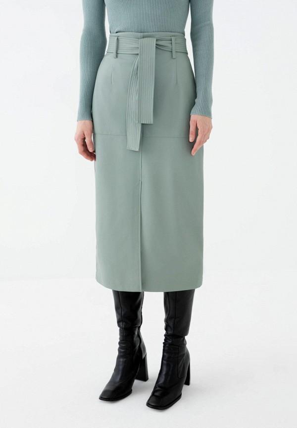 женская кожаные юбка zarina, зеленая
