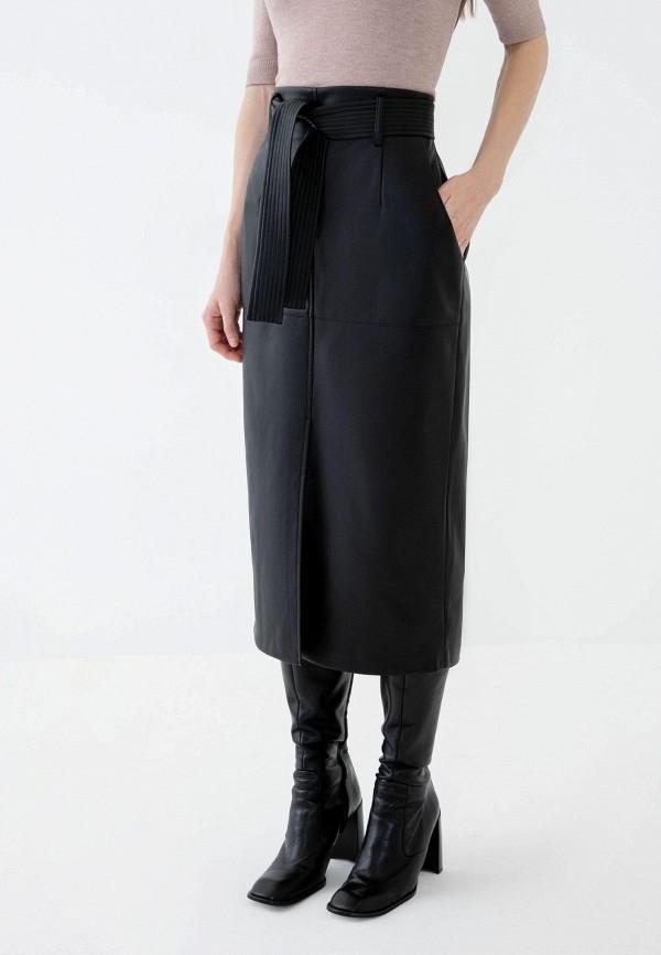 женская кожаные юбка zarina, черная