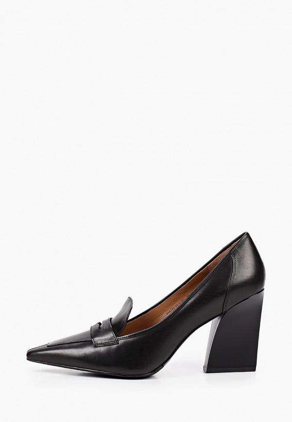 женские туфли с закрытым носом эконика, черные