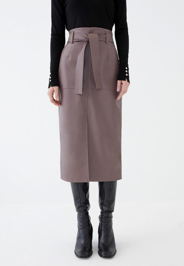 женская кожаные юбка zarina, коричневая