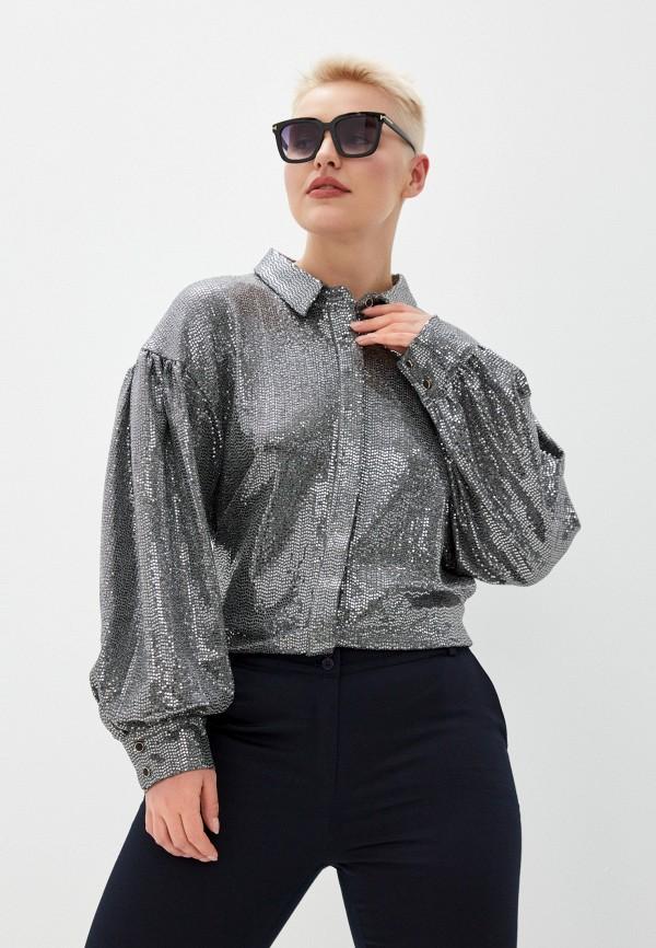 женская блузка с длинным рукавом bezko, серебряная