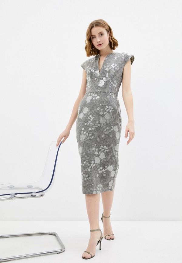 женское платье-футляр rich & naked, серебряное