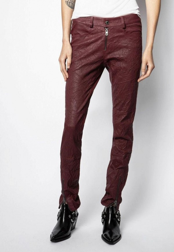 женские классические брюки zadig & voltaire, бордовые