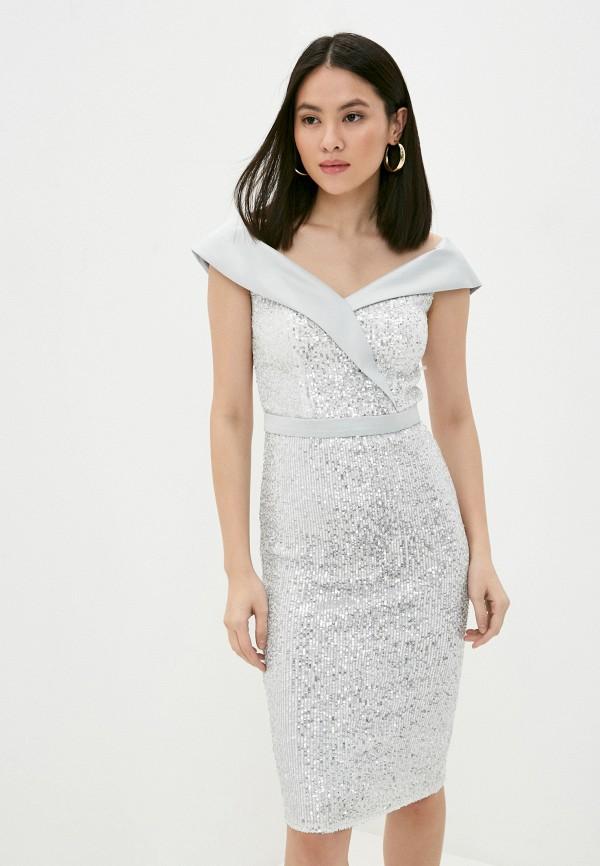 женское вечерние платье milomoor, серебряное