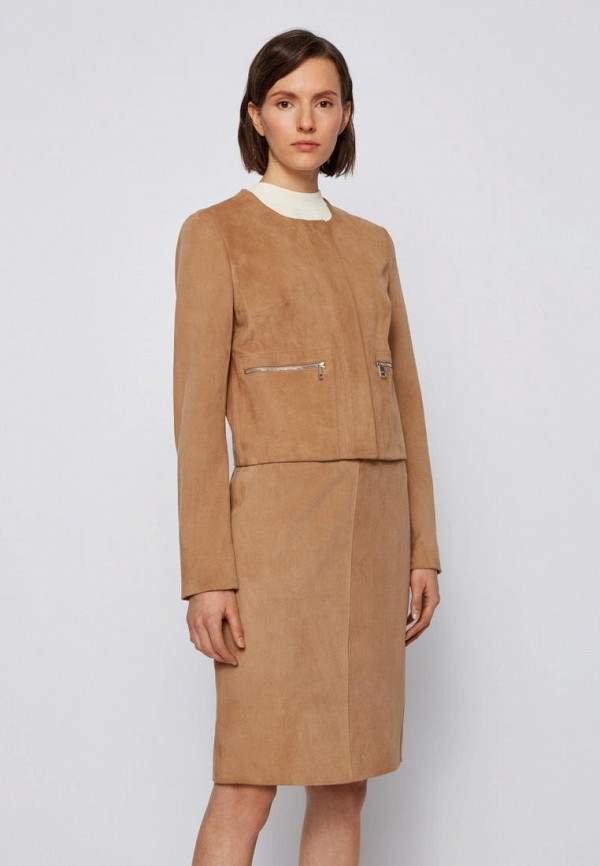 женская кожаные куртка boss, бежевая