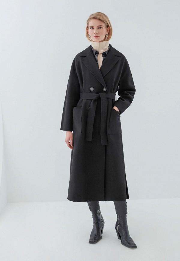 женское двубортные пальто zarina, черное