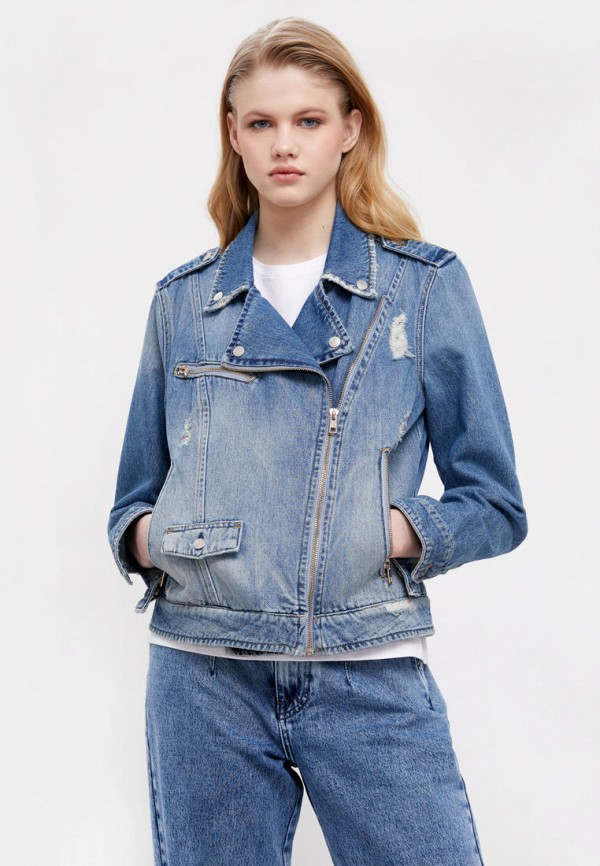 женская куртка косухи finn flare, синяя