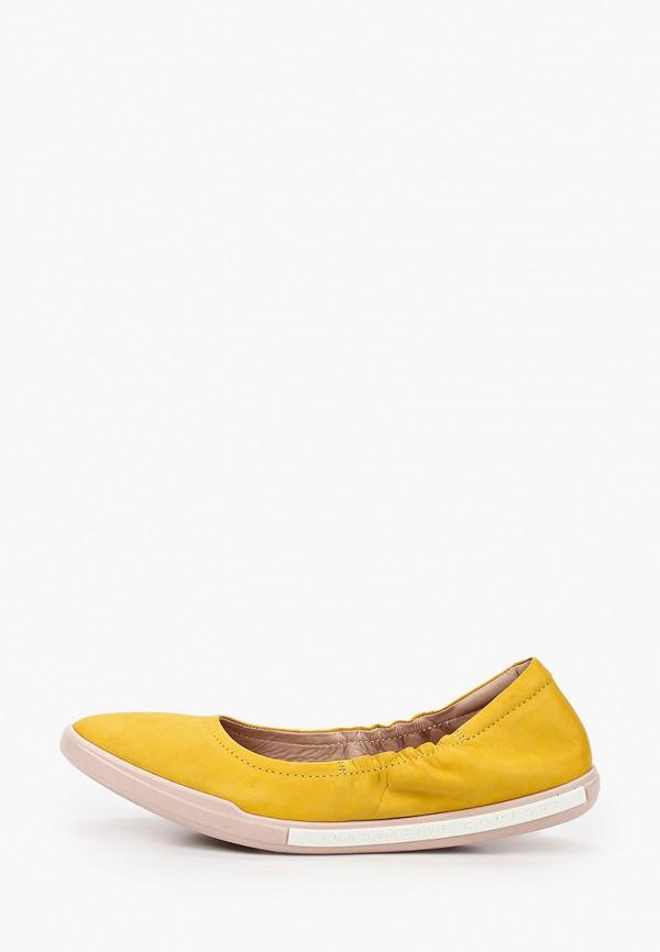 женские балетки ecco, желтые