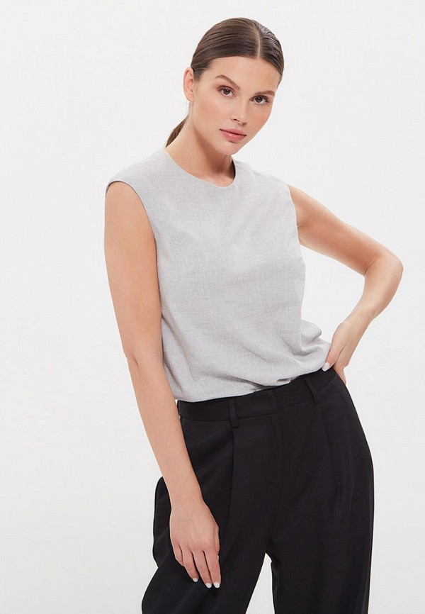 женская блузка без рукавов lezzarine, серая