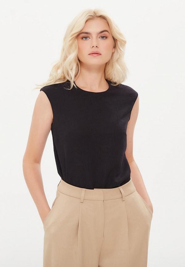 женская блузка без рукавов lezzarine, черная