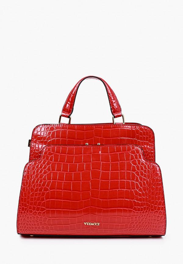женская сумка с ручками vitacci, красная