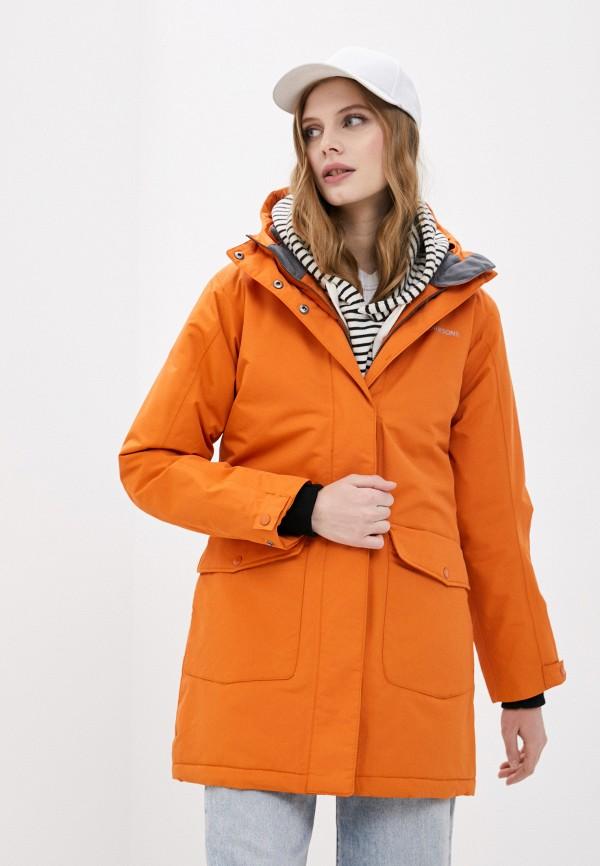 женская утепленные куртка didriksons, оранжевая