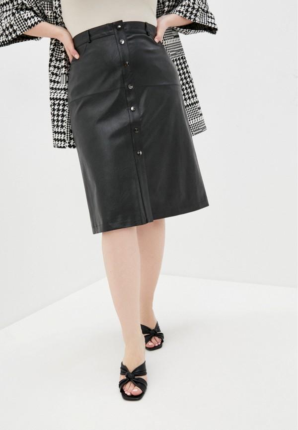 женская кожаные юбка pf, черная