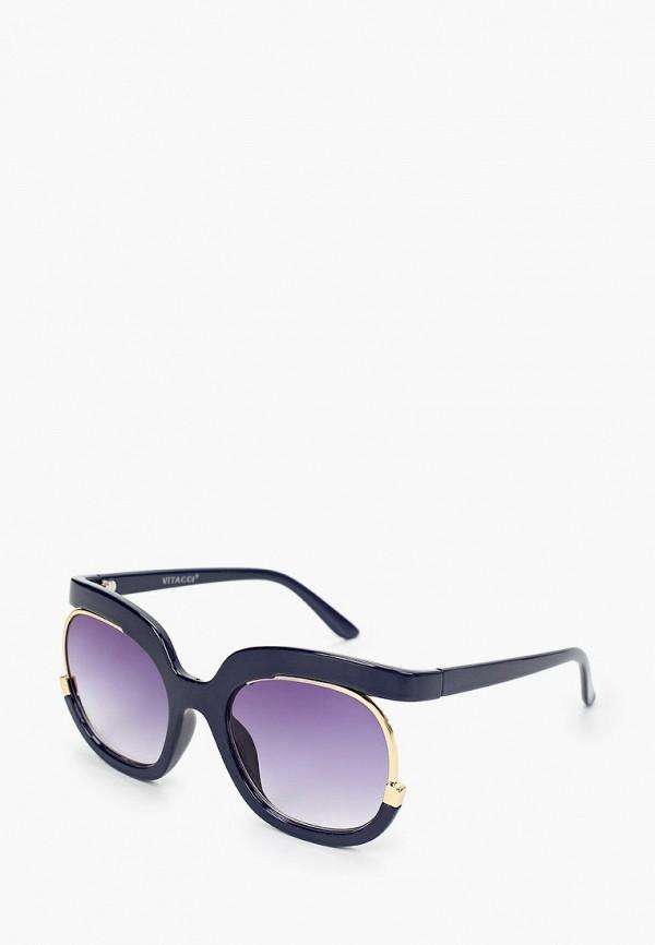 женские круглые солнцезащитные очки vitacci, синие