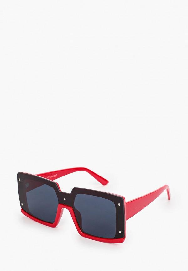 женские квадратные солнцезащитные очки vitacci, красные
