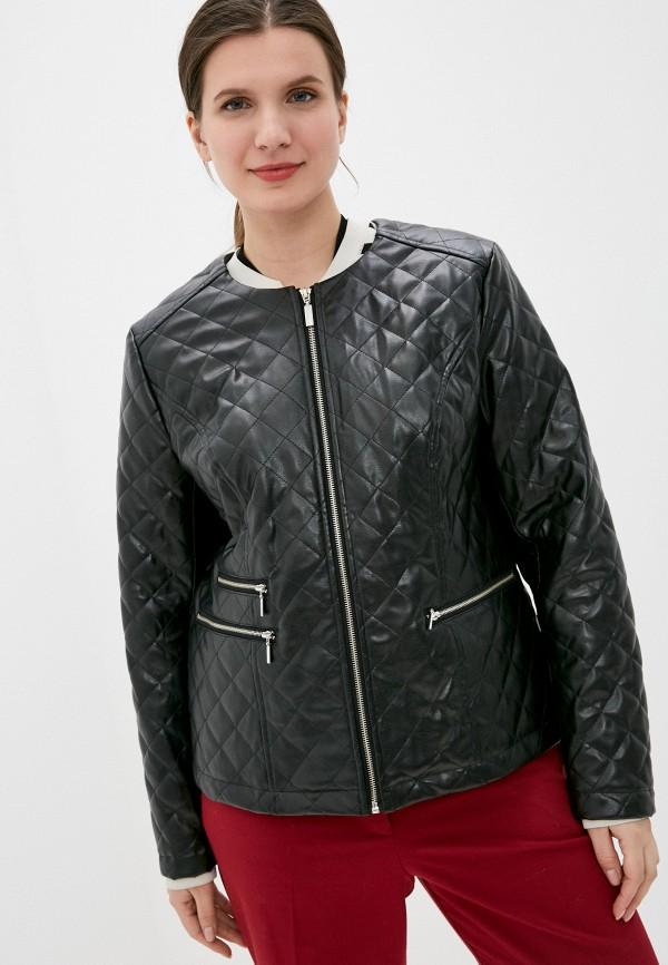 женская кожаные куртка kis, черная