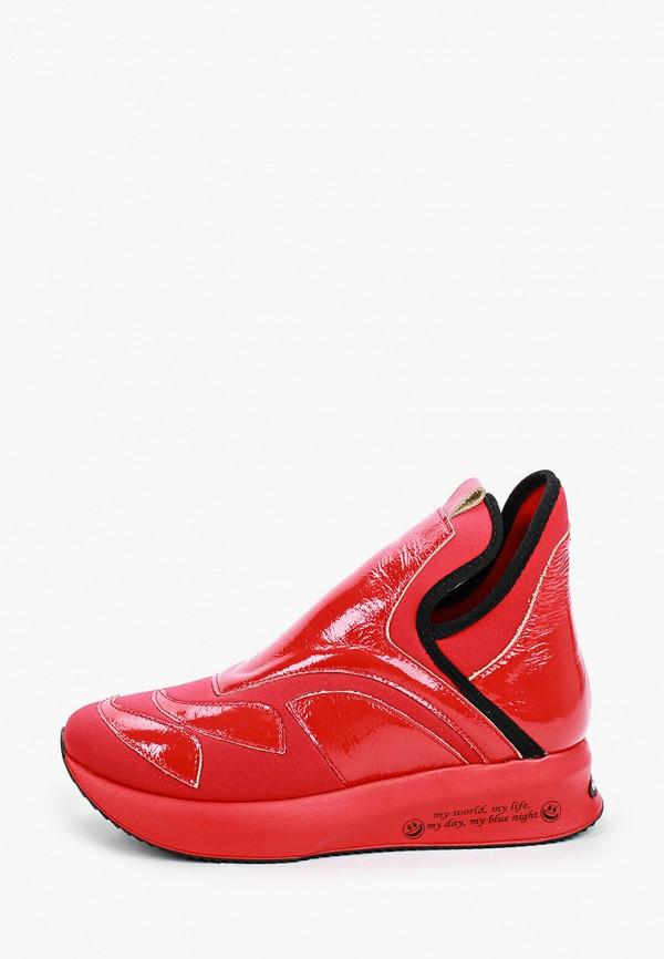 женские высокие кроссовки ascalini, красные