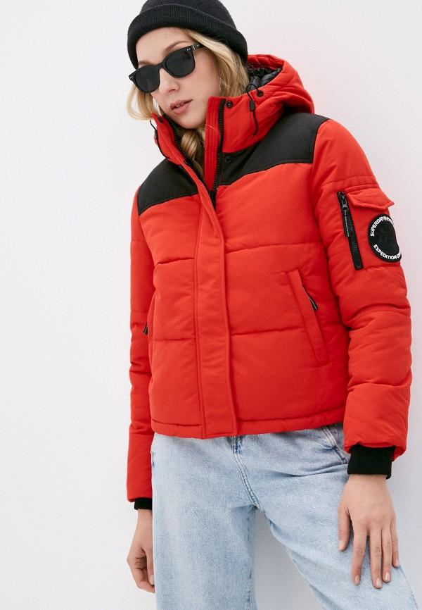 женская спортивные куртка superdry, красная