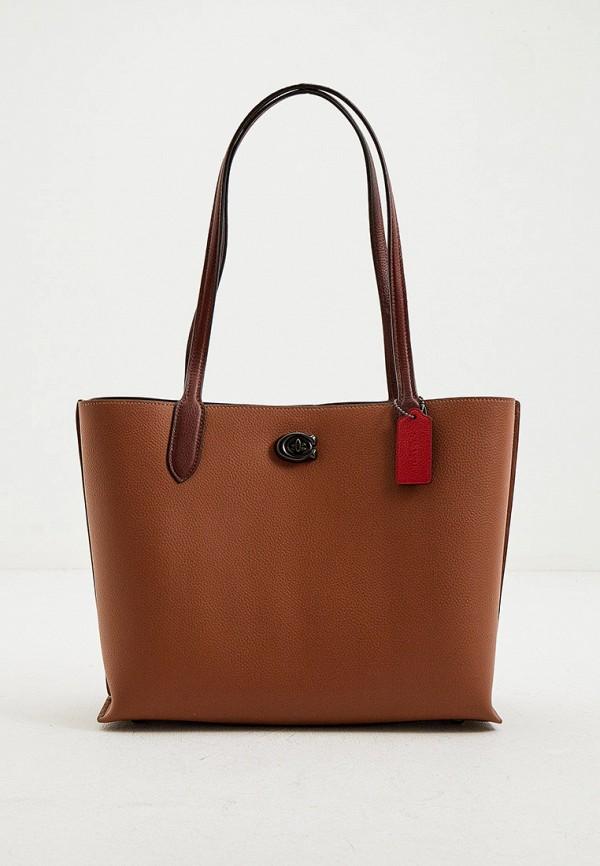 женская сумка-шоперы coach, коричневая