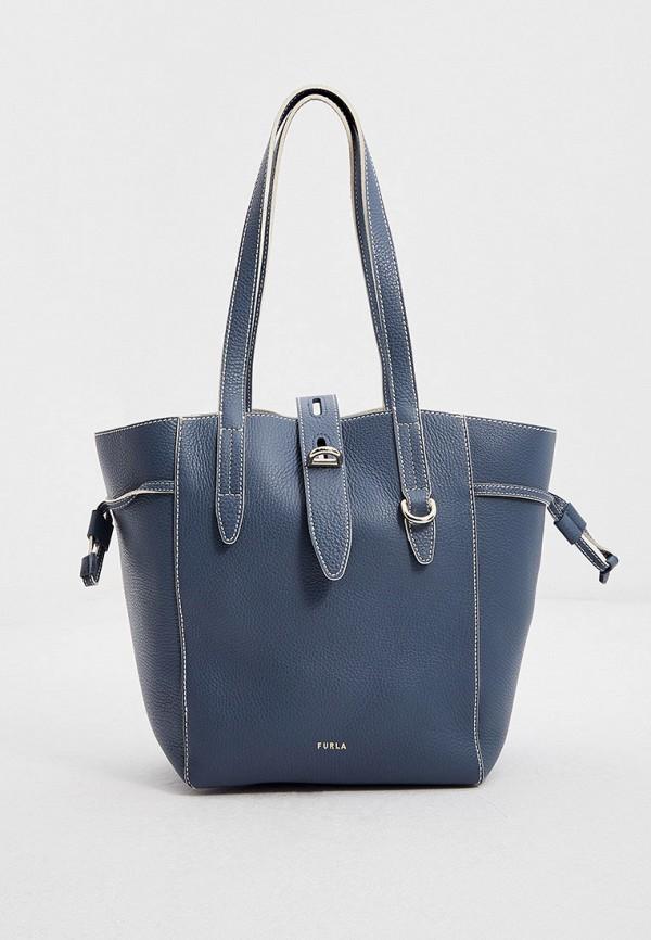 женская сумка-тоут furla, голубая