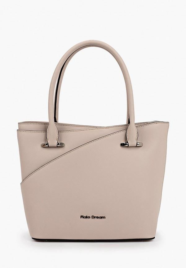 женская сумка с ручками fiato, бежевая