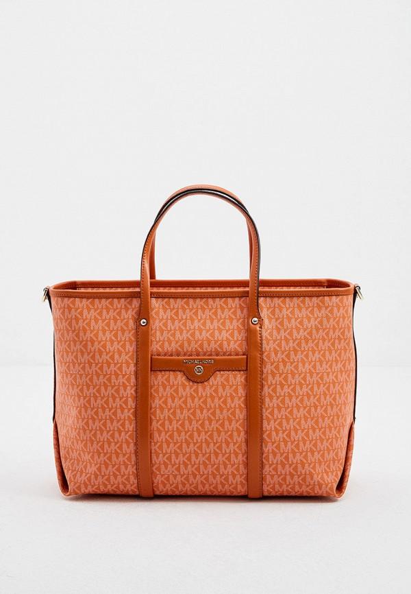 женская сумка с ручками michael kors, оранжевая