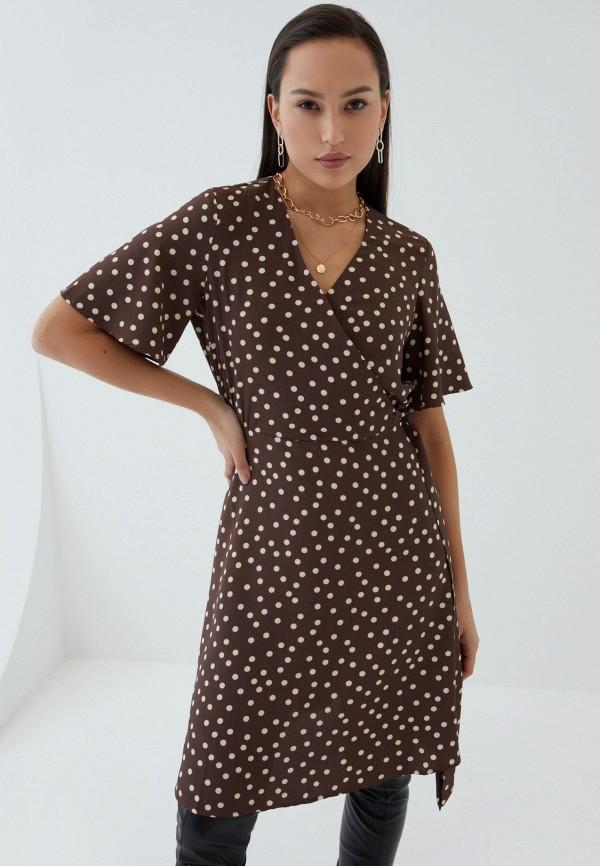 женское платье с запахом zarina, коричневое