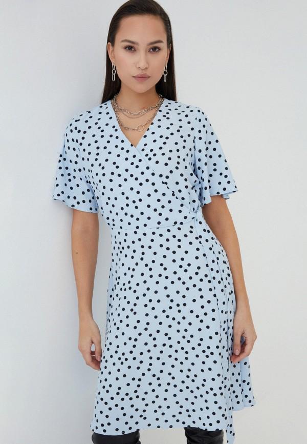 женское платье с запахом zarina, голубое