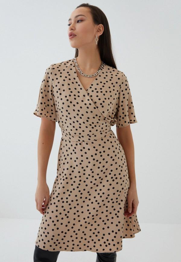 женское платье с запахом zarina, бежевое