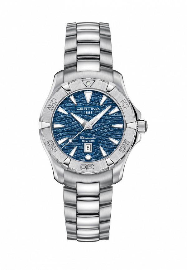 женские часы certina, серебряные