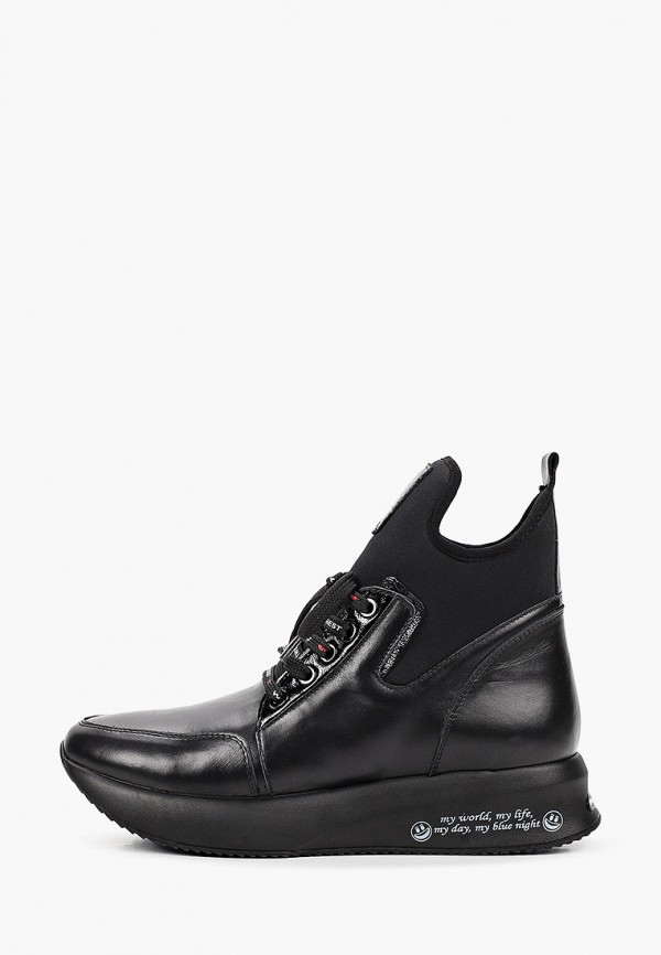 женские высокие ботинки ascalini, черные