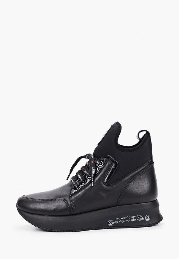 женские высокие кроссовки ascalini, черные