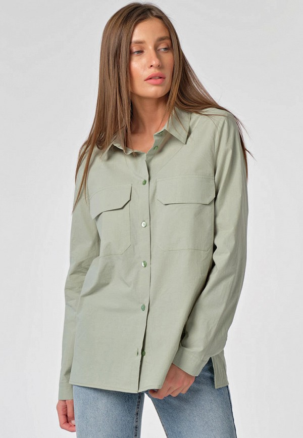 женская рубашка с длинным рукавом fly, зеленая