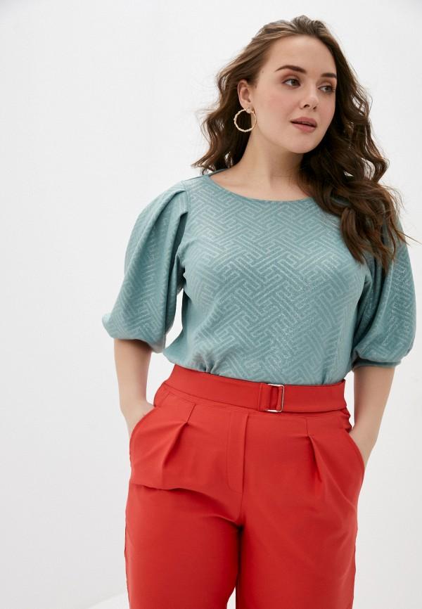 женская блузка с коротким рукавом olsi, бирюзовая