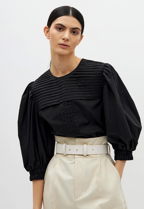 женская блузка с длинным рукавом lime, черная