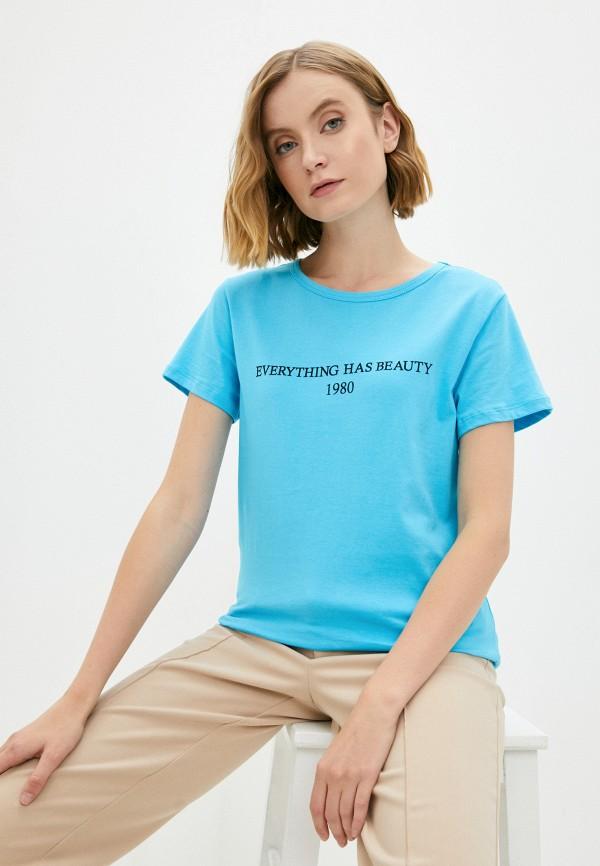 женская спортивные футболка blacksi, голубая