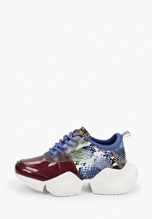 женские низкие кроссовки marco bonne', бордовые