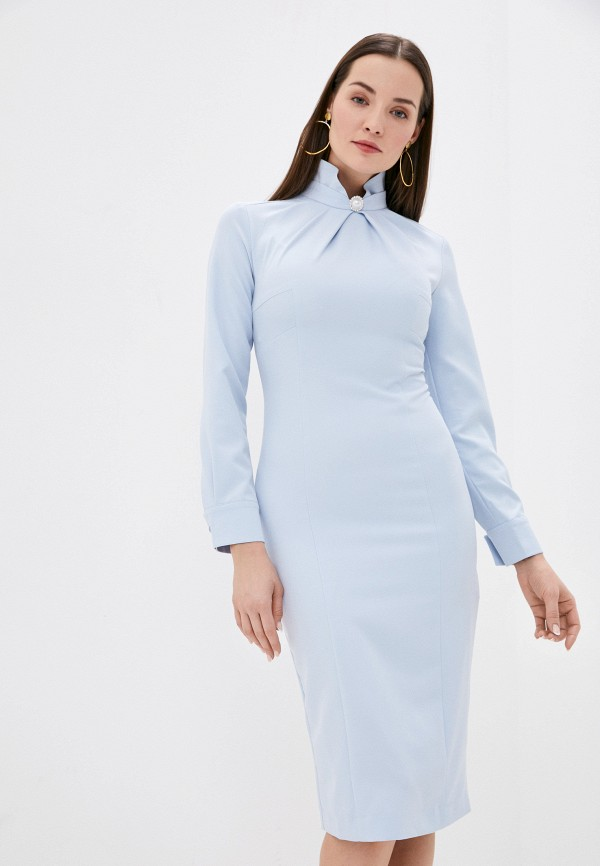 женское платье-футляр bezko, голубое