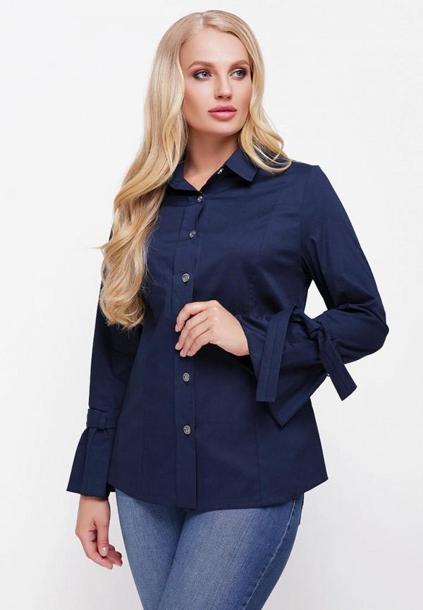 женская рубашка с длинным рукавом vlavi, синяя