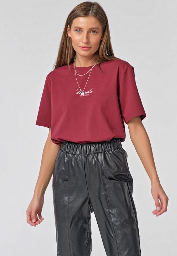 женская футболка fly, бордовая
