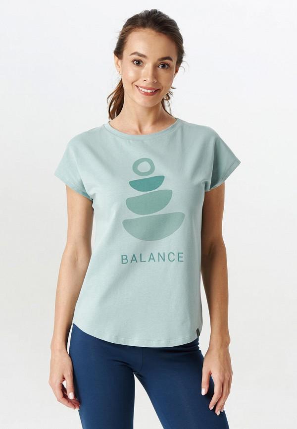женская спортивные футболка yogadress, голубая
