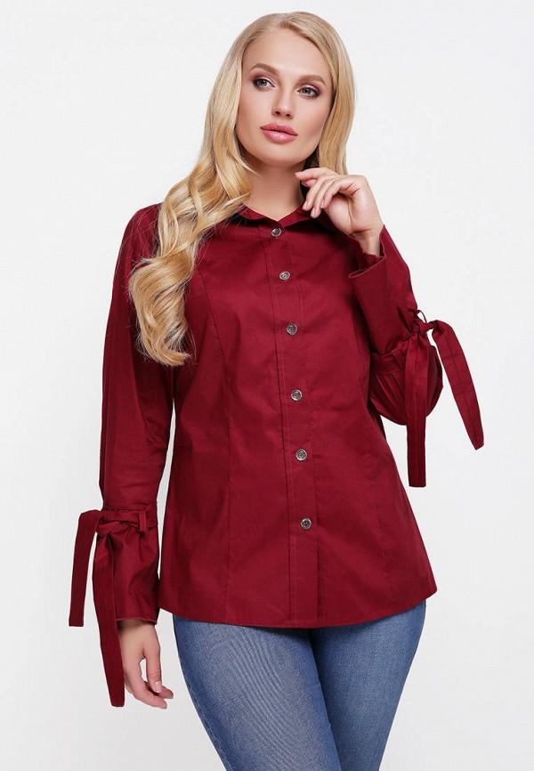 женская рубашка с длинным рукавом vlavi, бордовая